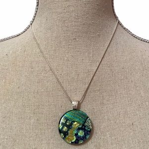 Circle Glass Blue Green Pendent Necklace